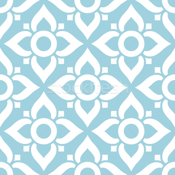 Thai seamless pattern with flowers - tiled design in white on blue background Stock photo © RedKoala