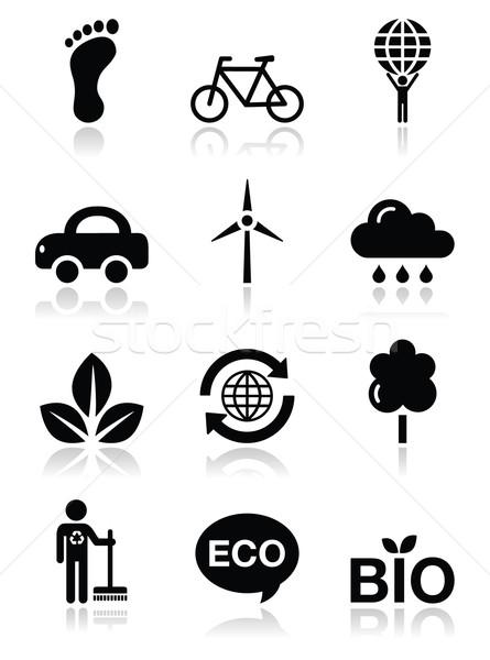 Green ecology black clean icons set Stock photo © RedKoala