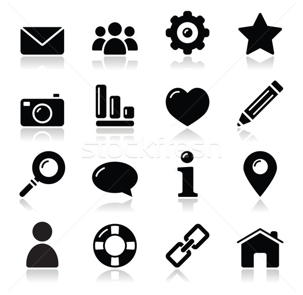 Website menu navigation black shiny icons - home, search, email, gallery, help, blog icons Stock photo © RedKoala