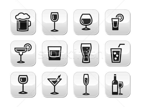 Drink alcohol beverage vector buttons set Stock photo © RedKoala