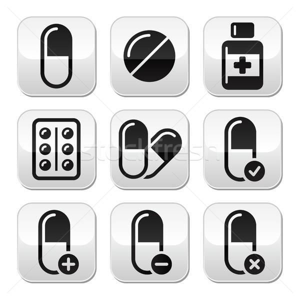 Pills, medication  vector buttons set  Stock photo © RedKoala