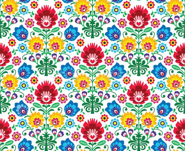 Seamless floral polish pattern - ethnic background Stock photo © RedKoala