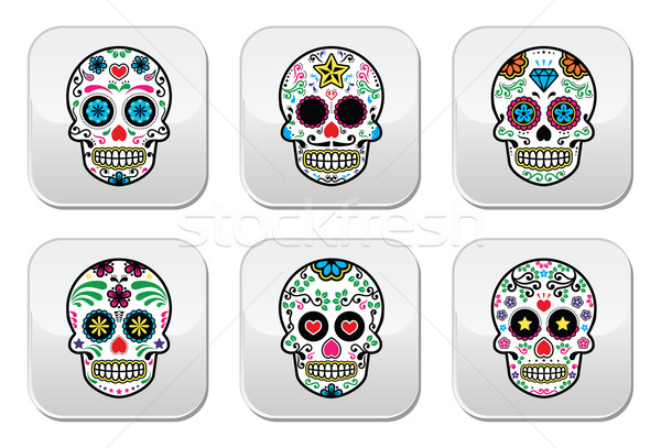 Mexican sugar skull, Dia de los Muertos buttons Stock photo © RedKoala
