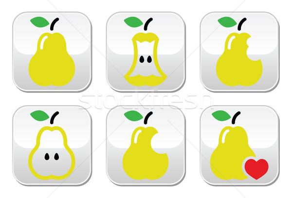 Pear, pear core, bitten, half vector buttons Stock photo © RedKoala