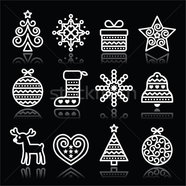 Christmas white icons with stroke on black Stock photo © RedKoala