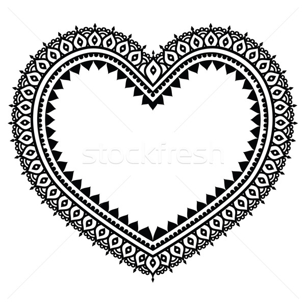 Heart Mehndi design, Indian Henna tattoo pattern  Stock photo © RedKoala