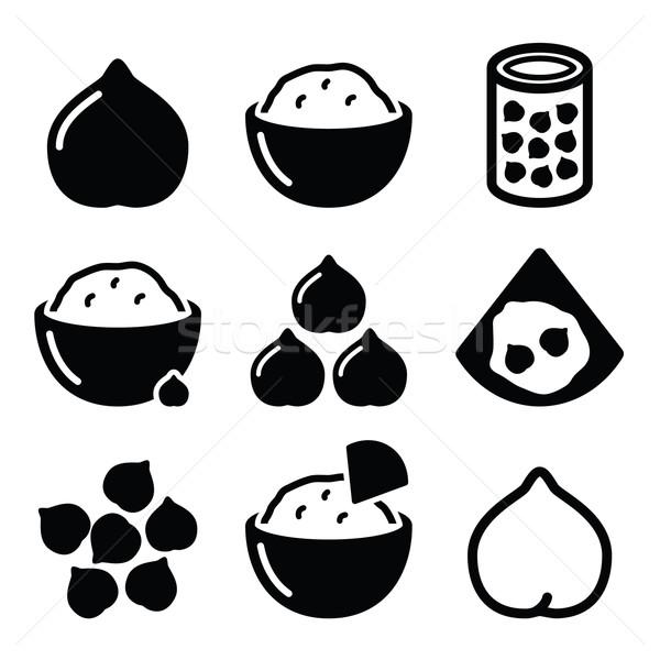 Hummus or houmous , chickpeas vector icons set  Stock photo © RedKoala