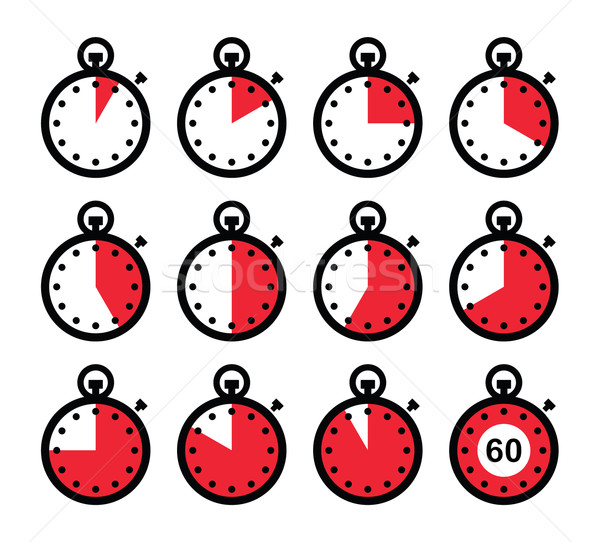 Time, clock, stopwatch red vector icons set  Stock photo © RedKoala