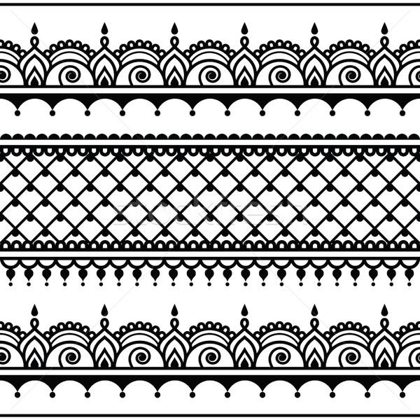Indian seamless pattern, design elements - Mehndi tattoo style Stock photo © RedKoala