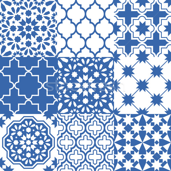 Moroccan tiles design, seamless navy blue pattern collections Stock photo © RedKoala