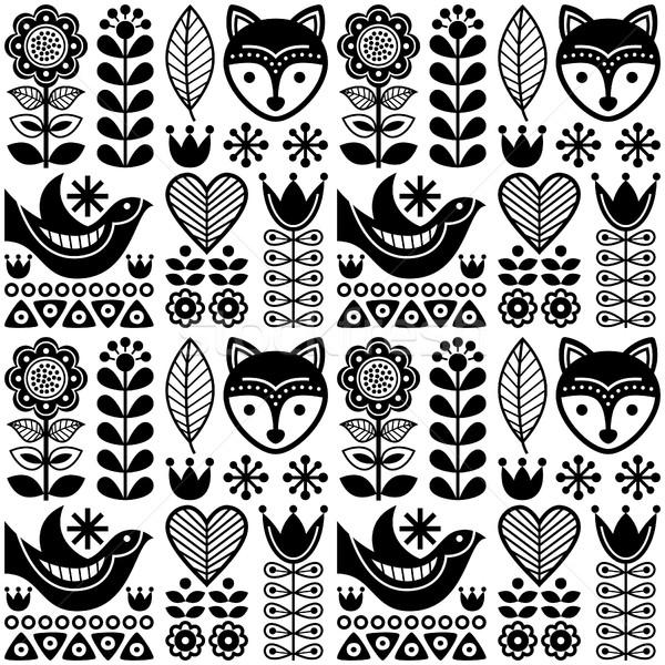 Scandinavian seamless folk art pattern - black Finnish design, Nordic style Stock photo © RedKoala