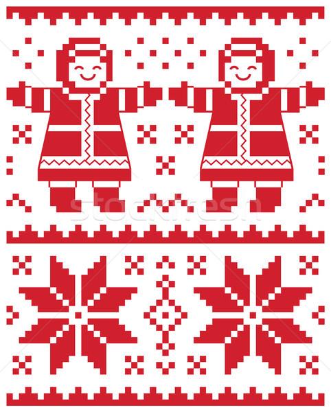 Stock fotó: Karácsony · vektor · kártya · hagyományos · kötött · minta