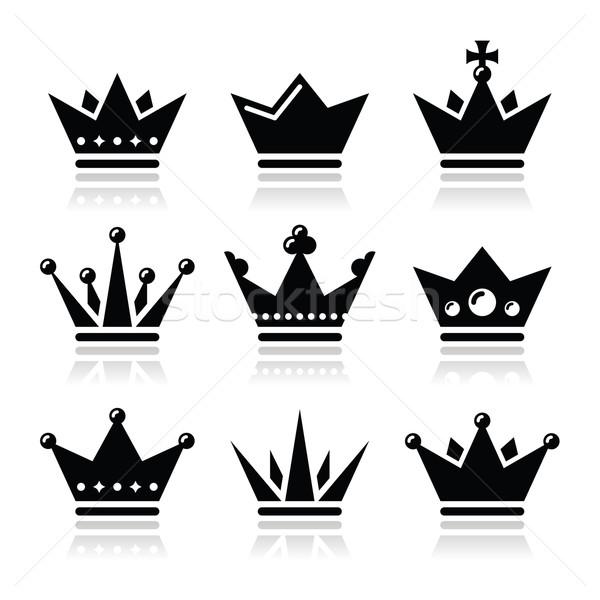 Crown, royal family icons set Stock photo © RedKoala