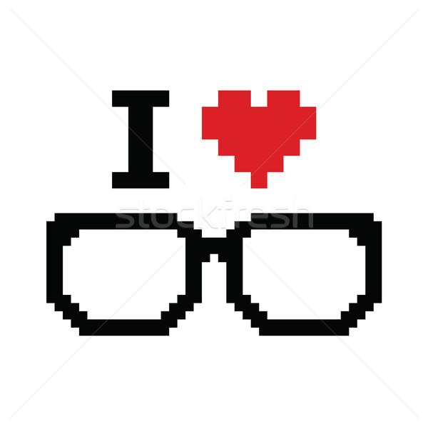 Szeretet pixeles retro felirat szemüveg 80-as évek Stock fotó © RedKoala