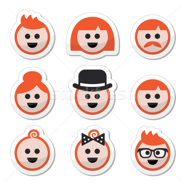 People with ginger vector hair icons set  Stock photo © RedKoala
