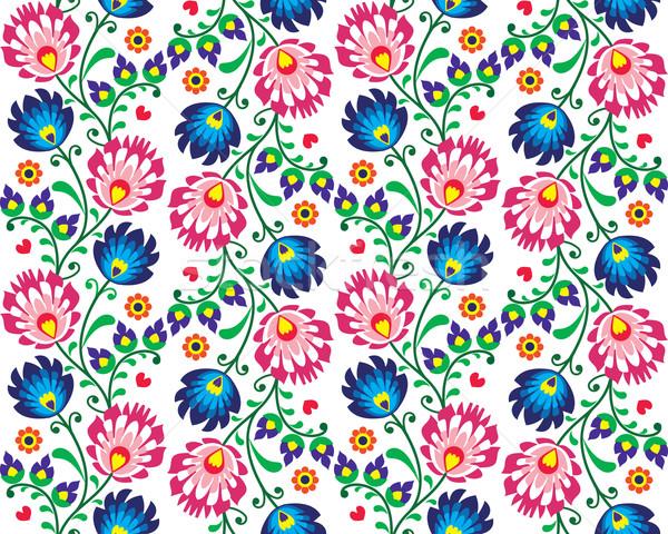 Seamless folk Polish pattern - wzor lowicki Stock photo © RedKoala