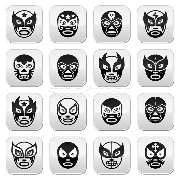 Lucha libre, luchador Mexican wrestling black masks buttons Stock photo © RedKoala