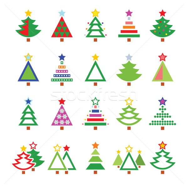 Karácsonyfa különböző vektor ikon szett díszítések karácsony Stock fotó © RedKoala