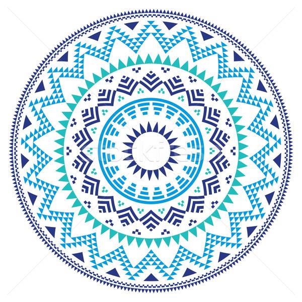 Tribal folk Aztec geometric pattern in circle - blue, navy and turquoise Stock photo © RedKoala