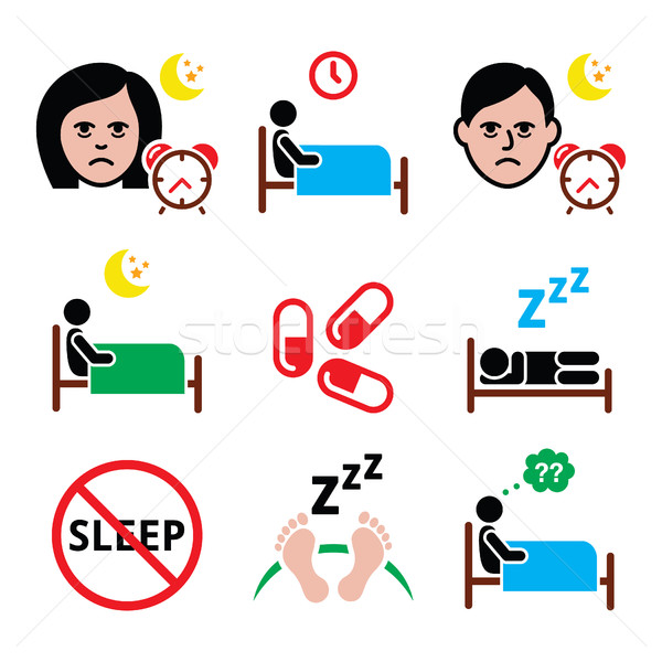 Insomnia, people having trouble with sleeping icons set  Stock photo © RedKoala