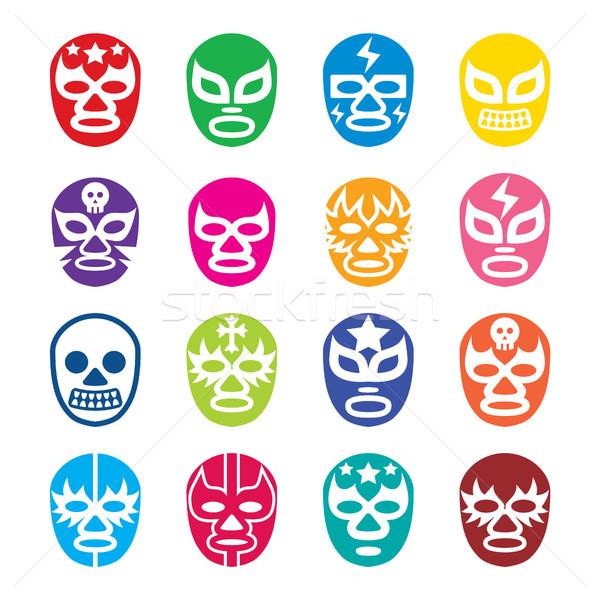 Ikonok mexikói bírkózás maszkok vektoros ikonok szett Stock fotó © RedKoala