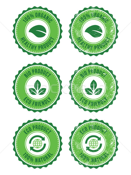 Stock photo: Green 100% organic natural eco product retro labels
