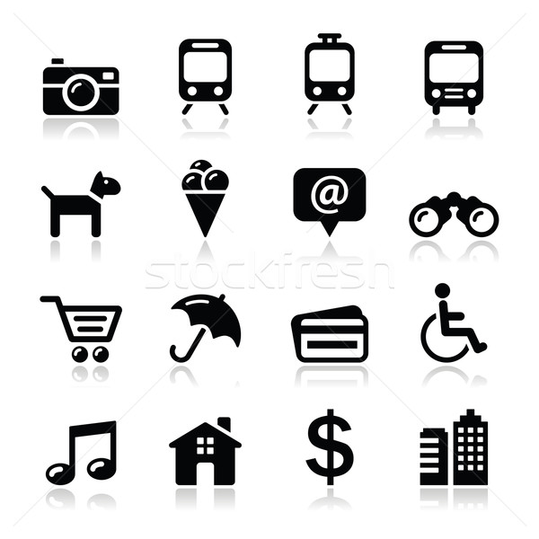 Travel tourism and transport icons set - vector Stock photo © RedKoala