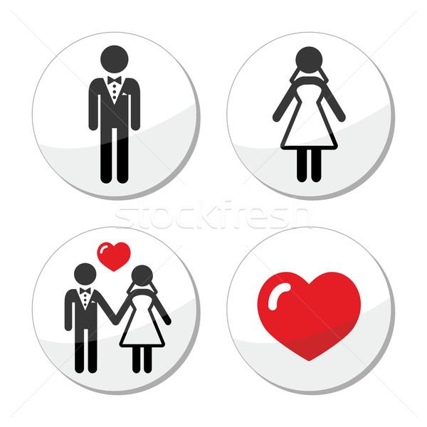Stockfoto: Bruiloft · iconen · echtpaar · bruidegom · bruid