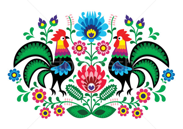 Polish floral embroidery with cocks - traditional folk pattern Stock photo © RedKoala