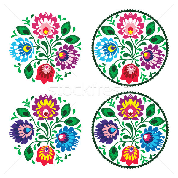Ethnic round embroidery with flowers - traditional vintage pattern from Poland Stock photo © RedKoala