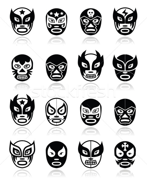 Lucha libre, luchador mexican wrestling black masks icons Stock photo © RedKoala