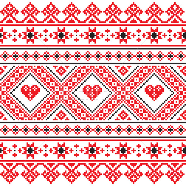 Traditional folk art knitted red embroidery pattern from Ukraine  Stock photo © RedKoala