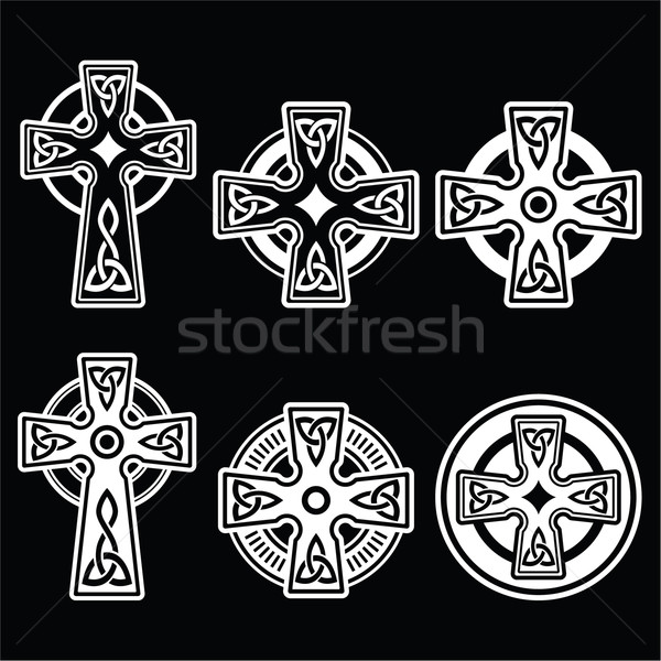 Ierse celtic witte kruis zwarte kruisen Stockfoto © RedKoala
