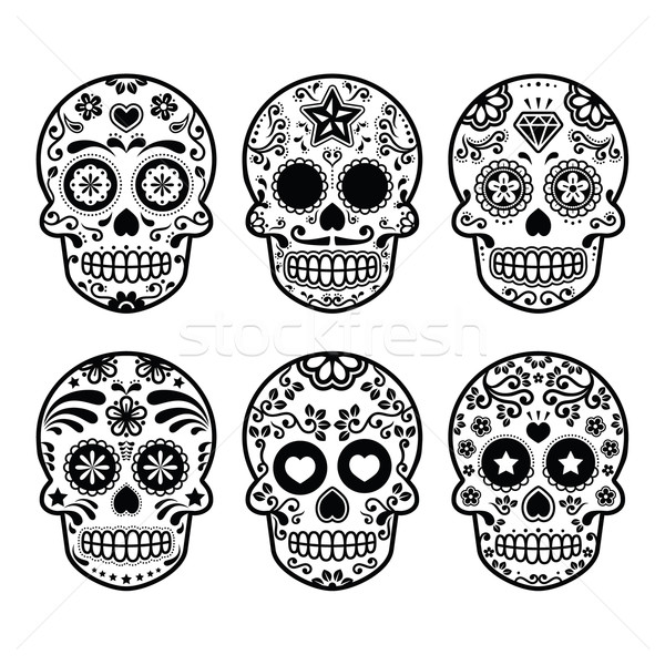 Mexican sugar skull, Dia de los Muertos icons set Stock photo © RedKoala