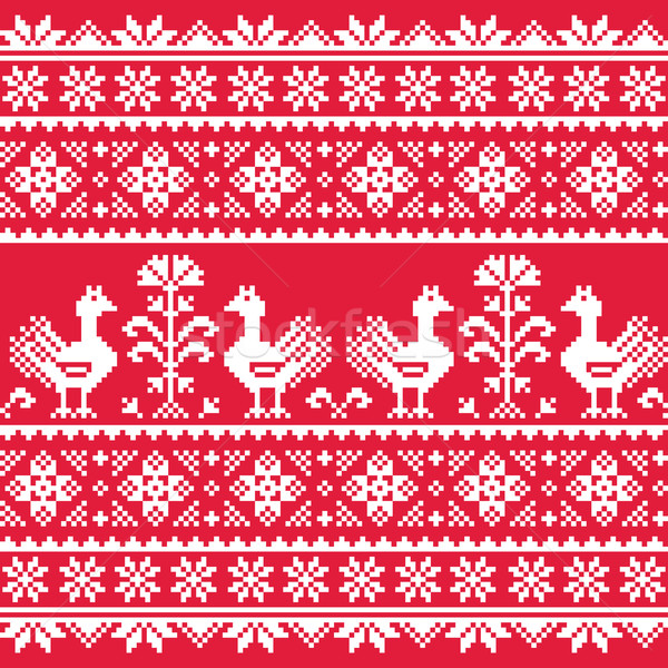 Ukrainian Slavic folk art knitted red emboidery pattern with birds Stock photo © RedKoala