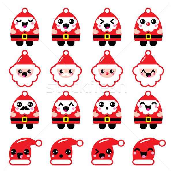 Kawaii Święty mikołaj cute charakter ikona głowie Zdjęcia stock © RedKoala