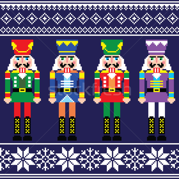 Stock photo: Christmas jumper or sweater seamless pattern with nutcrackers
