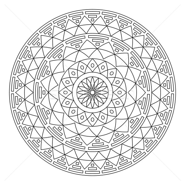 Tribal folk Aztec geometric pattern in circle - stroke Stock photo © RedKoala