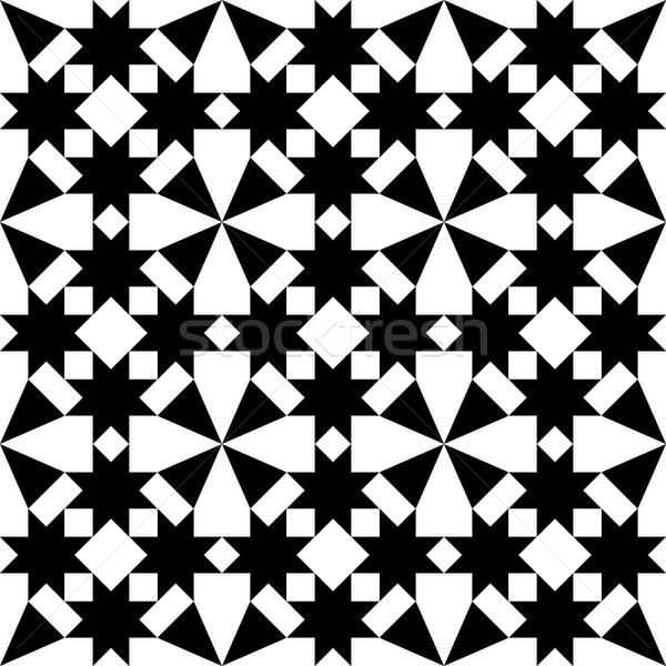 Moroccan tiles design, geometric seamless black tile pattern Stock photo © RedKoala