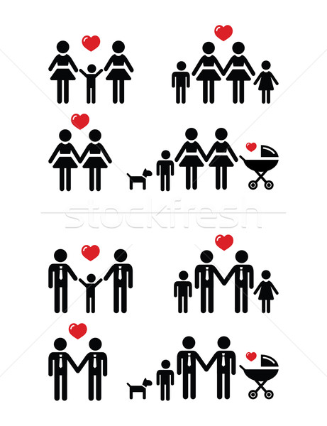 Gay, lesbian couples and family with children icons set Stock photo © RedKoala