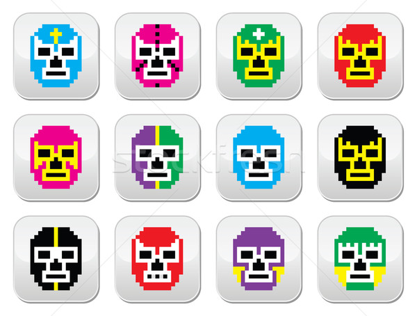 Lucha Libre, luchador pixelated Mexican wrestling masks buttons Stock photo © RedKoala