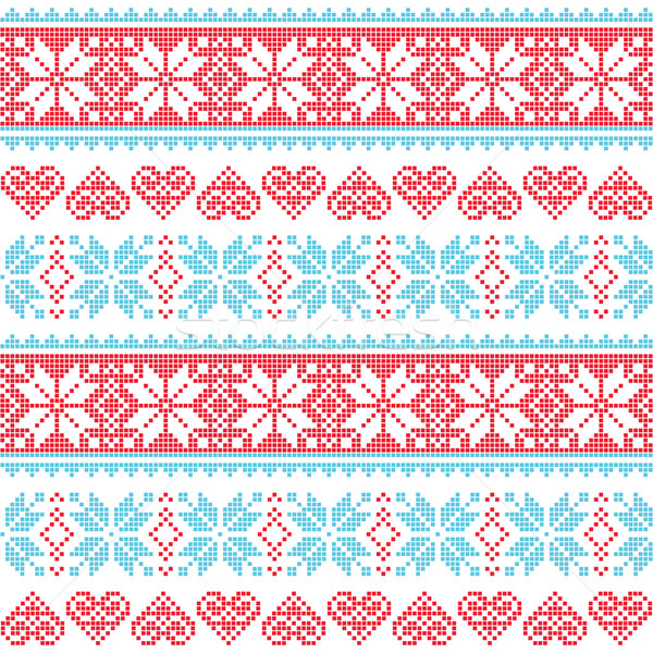 Winter, Christmas seamless pixelated pattern with snowflakes and hearts Stock photo © RedKoala