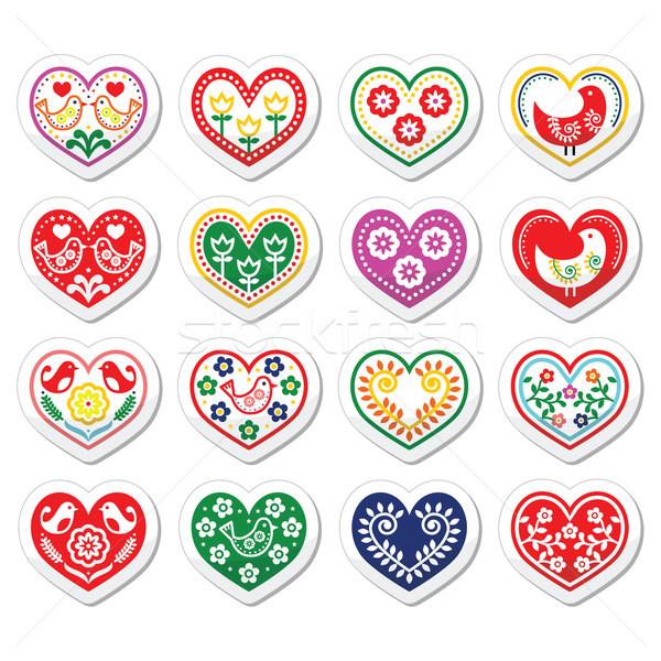 Folk hearts with flowers and birds icons set Stock photo © RedKoala