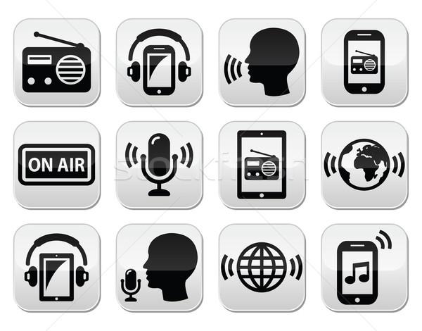 Radyo podcast uygulaması tablet düğmeler Stok fotoğraf © RedKoala