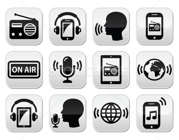 радио Подкаст приложение смартфон таблетка Кнопки Сток-фото © RedKoala