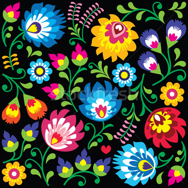 Floral Polish folk art pattern on black - Wzory Lowickie, Wycinanki  Stock photo © RedKoala