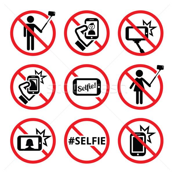 No selfies, no selfie sticks vector signs   Stock photo © RedKoala