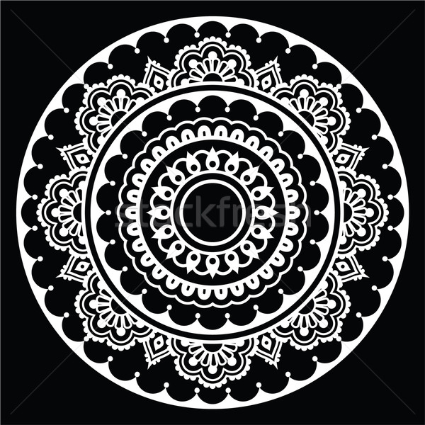 Mehndi, Indian Henna floral tattoo white round pattern on black Stock photo © RedKoala
