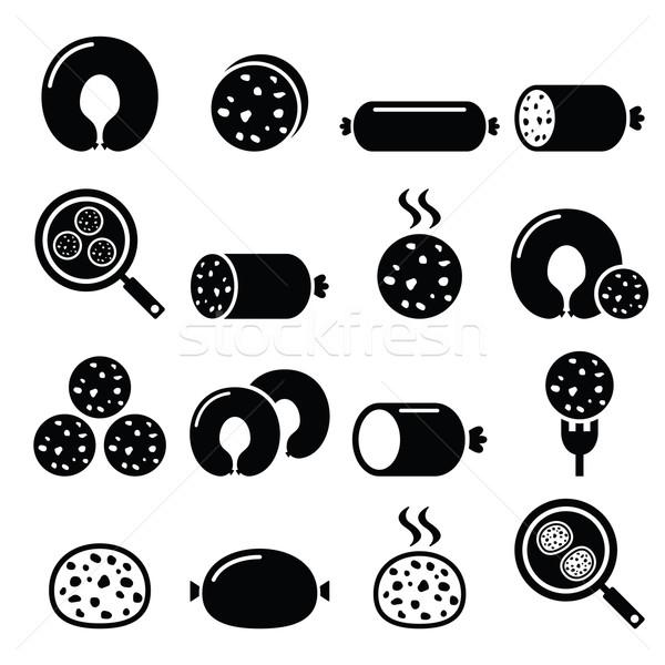 Fekete puding kolbász fehér ikon szett új Stock fotó © RedKoala