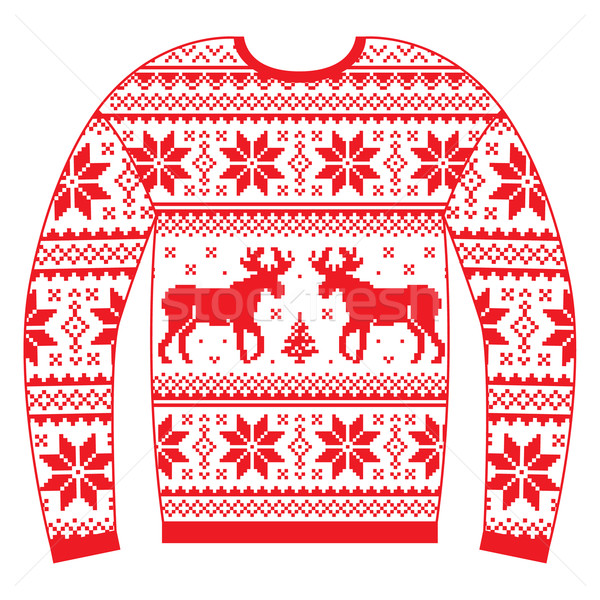 Ugly Christmas jumper or sweater with reindeer and snowflakes red pattern  Stock photo © RedKoala